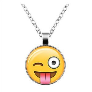 Jewelry - Crazy 😜 Emoji Glass & Silver Necklace
